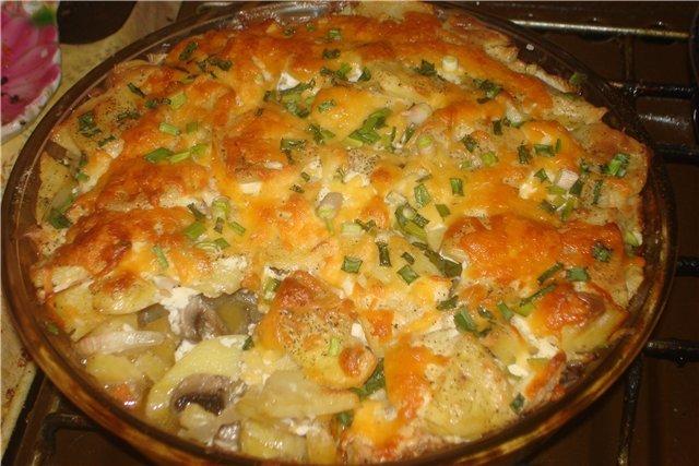 Мясо по-французски с картофелем и грибами в мультиварке рецепт с фото